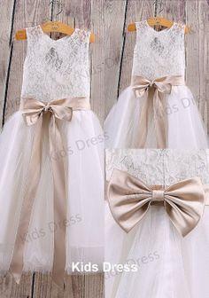 Aline Floorlength Lace Tulle Flower Girl Dress With by kidsdress, $38.00