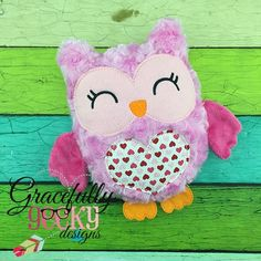 Valentine Owl Stuffie ITH Embroidery Design - 5x7 Hoop or larger