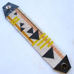 Fast Forward Beaded Cuff Bracelet - Beadwoven Bracelet - Loom Beaded - Triangle Bracelet - Snap On
