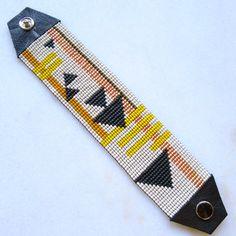 Fast Forward Beaded Cuff Bracelet - Beadwoven Bracelet - Loom Beaded - Triangle Bracelet - Snap On