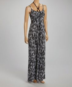 Another great find on #zulily! Black & White Abstract Embellished Maxi Dress by Claudia Richard #zulilyfinds