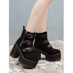 Triple Buckles Suede Chunky Heel Boots #CLICK! #clothing, #shoes, #jewelry, #women, #men, #hats