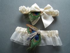 Bridal Garter Set Peacock Wedding Accessories by WeeGardens, $39.00