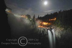 Limited Edition Nature Art Print. Salish Lodge in Snoqualmie Mist. Landscape photograph:  Waterfalls, Snoqualmie Falls, Washington, Seattle, Waterfalls