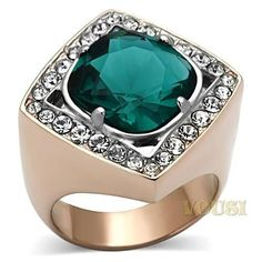 Womens IP Two Tone ( Rose Gold & Silver) Blue Zircon Synthetic Glass Ring RI0T-07156