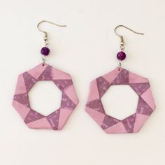 """Boucles d'oreilles """"créoles"""" origami violettes de la boutique LatelierdIsabo sur Etsy"""