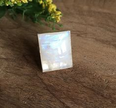 Rainbow  Moonstone ring  Rectangle ring  Bold ring  by Studio1980