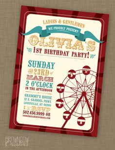 PRINTABLE Vintage Carnival Birthday Party Invitation by BrownCowCreatives on Etsy https://www.etsy.com/listing/179192819/printable-vintage-carnival-birthday
