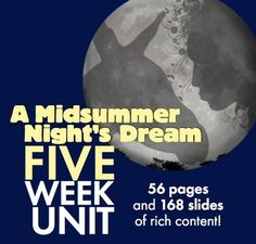 Looking for a fresh approach to pull your students into A Midsummer Nights Dream? William Shakespeares hilarious tale of love and magic will enthrall your students when you use this MASSIVE bundle of interactive, multimedia lessons. This package includes FIVE WEEKS OF COMPLETE LESSON MATERIALS designed to challenge and entertain middle school students and high school freshmen/sophomores.This HUGE bundle includes: A day-by-day calendar to follow with helpful details and nightly homework assignmen...