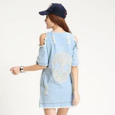 Now in our store skull clothing and accessories Women Off The Sho... Check out new items http://rebelstreetclothing.com/products/women-off-the-shoulder-ripped-denim-dress-with-skull-pattern-at-back-new-2016-summer-fashion-ladies-cold-shoulder-jean-dresses