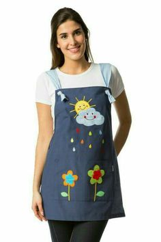 Stole for teacher with a sun and cloud drawing embroidered on the yoke smile . - Stole for teacher with a sun and cloud drawing embroidered on the yoke smiling with colored raindro - Teacher Apron, Sewing Crafts, Sewing Projects, Cute Aprons, Sewing Aprons, Recycle Jeans, Creation Couture, Apron Dress, Kitchen Aprons