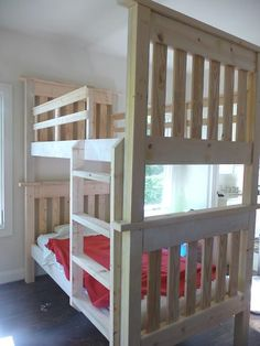 Ana White website shares a fabulous weekend project of creating a beautiful set of bunk beds. There are examples of these bunk beds painted in different