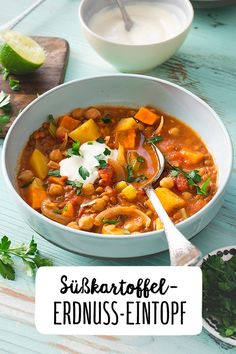 Sweet Potato Peanut Stew - Who likes prepares twice the portion. The stew tastes the next day at least as good. Peanut Stew Recipe, Benefits Of Potatoes, Vegetarian Recipes, Healthy Recipes, Vegan Appetizers, Casserole Dishes, Sweet Potato, A Food, Healthy Eating