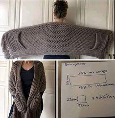 Pull Crochet, Thread Crochet, Crochet Scarves, Crochet Shawl, Crochet Clothes, Shawl Patterns, Crochet Patterns, Crochet Animal Hats, Beginner Crochet Tutorial
