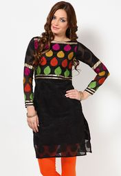 Full Sleeve Self Pattern Black Kurti