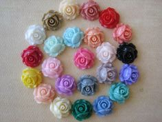 24PCS  Cabbage Rose Flower Cabochons  15mm  Mixed by ZARDENIA, $12.00