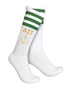 Alpha Sigma Tau Anchor Striped Socks by Adam Block Design | Custom Greek Apparel & Sorority Clothes | www.adamblockdesign.com