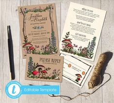 Printable Template Invite DIY Rustic wedding invitations