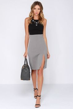 Going Greyscale Black and Grey Midi Dress at Lulus.com!