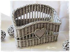 Купить Журнальница (газетница) плетеная - серый, плетение из газет, плетение из бумажной лозы, плетение из бумаги