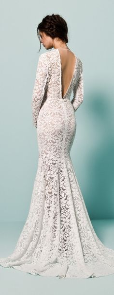 Daalarna wedding dress trumpet mermaid flare gown with allover lace