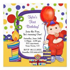 Polka Dot Circus First Birthday Personalized Invites