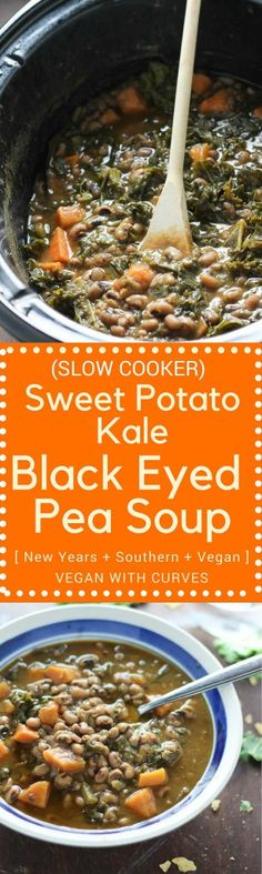 Slow Cooker Sweet Potato Kale Black Eyed Peas  #CrockPotRecipes #BlackEyedPeas #NewYear #SouthernRecipes