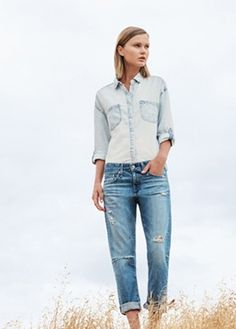 I think this would be a really cute style for senior pictures. It just looks really good to have the two different jean washes. You could easily jazz it up with some accessories, or just keep it as is.