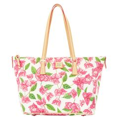 Dooney & Bourke | Bougainvillea Zip Top Shopper | This new print collection is inspired by bougainvillea, the bold and beautiful flower of the tropics.