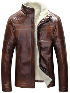 SZYYSD Men's Winter Warm Sheep Skin Genuine Leather Coat Jacket Lamb Wool Lined (UK X-Small / Tag M, Brown): Amazon.co.uk: Clothing