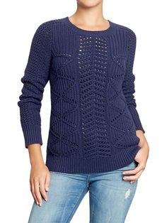 Womens Textured Cable-Knit Sweaters