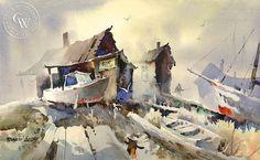 Robert Landry California Artist - Boat Repair – California Watercolor