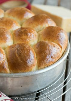 Parmesan Pull-Apart Rolls - Light and airy dinner rolls are easy to make at home!  And the added Parmesan cheese in this dough gives great flavor to these terrific rolls!