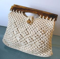 Vintage Macrame Bag With Wooden Beads And by TheOldBagOnline