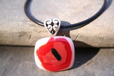 red poppy seeds flower - handmade fused glass unique pendant on silver color ornamental bail and black leather cord Red Glass, Red Poppies, Shades Of Red, Leather Cord, Little Things, Vintage Silver, Fine Art Photography, Silver Color, Poppy