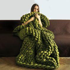 Les couvertures Grande Punto de Ohhio. Couverture Chunky. Tricot géant. Jet confortable. laine de mérinos 23 microns.