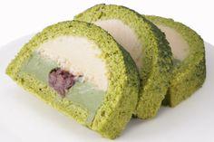 Macrobiotic green tea roll cake マクロビオティック 抹茶あずきロール