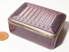 This is a FANTASTIC original antique c1920 sterling silver & guilloche enamel box made by the famous silversmith and jeweller David Andersen of Norway. The enamel is purple in colour and the engine turned silver underneath is decorative with zig zags and wavy lines along with groove effect all makes this box shimmer with every movement and the purple changes from dark to light with the silver shining underneath it. | eBay!