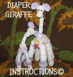 Instructions on how to make GIRAFFES from DIAPERS. Perfect baby keepsake gift centerpiece.On special now.