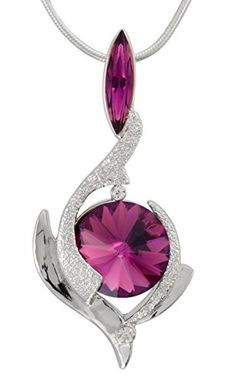 February Amethyst Color Birthstone Pendant Necklace with Two Swarovski Crystals Set in Platinum. MADE IN USA William Wang Designs http://www.amazon.com/dp/B00YQ7JC48/ref=cm_sw_r_pi_dp_KPqRwb080HRQZ