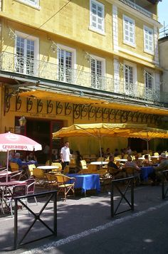 Van Gogh's Cafe in the Place du Forum. One must stay in the beautiful Hotel Forum that faces the cafe!