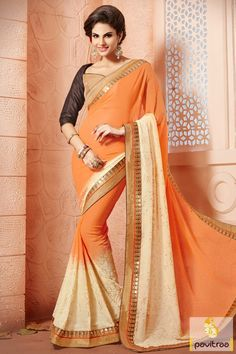 Latest beautiful orange and beige color georgette fabric festival saree. This fashionable party wear saree designed by embroidery and lace border work. #saree, #designersaree more: http://www.pavitraa.in/store/designer-sarees/