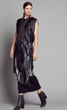 FEATHER SILK V NECK ASYMM DRESS 2164.3202