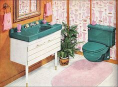 Modern retro vintage bathroom design decorating ideas 50 - A plain pattern is best and, naturally, make sure it's washable. Another concept is to permanently remove all of the cabinet doors. Easy and clean typ. 1950s Bathroom, Mid Century Bathroom, Vintage Bathrooms, Bathroom Vanities, White Bathroom, 1950s Interior, Classic Interior, Retro Home, Modern Retro