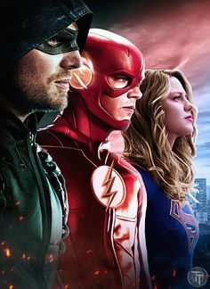 Wallpapers City Of Heroes : The World's Most Popular Superpowered MMO. Wallpaper DC Comics Superheroes DC TV Crossover Arrow The Flash Supergirl TV Series - The Golden Ways Supergirl Dc, Supergirl And Flash, Supergirl Season, Series Dc, Super Heroine, Flash Wallpaper, Wallpaper Wallpapers, Mobile Wallpaper, Superhero Shows