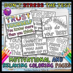 "These ""Don't Stress The Test"" doodle coloring pages are a wonderfully relaxing… Counseling Activities, School Counseling, Staar Test, Test Taking Strategies, Quote Coloring Pages, Test Anxiety, Student Motivation, Study Skills, Quotes For Students"