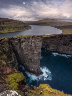 Lake over the sea, Vagar, Faroe Islands.