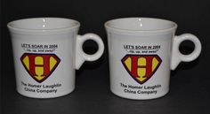 """Homer Laughlin China ~ Fiesta®  """"Let's Soar In 2004...Up,up, and away!"""" White Mugs 
