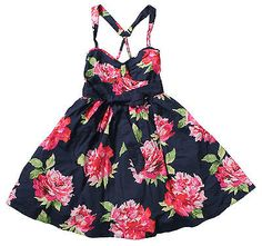NWT Abercrombie & Fitch Womens Floral Print Dress in Navy- size S - $78 - Cute