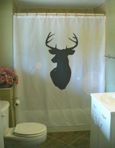 stag head shower curtain wall mount antler deer by eternalart